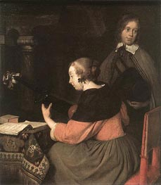 The Lute Player, undated by Gerard ter Borch | Painting Reproduction