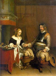 Man Offering a Woman Coins, c.1662/63 von Gerard ter Borch | Gemälde-Reproduktion