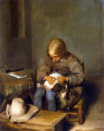 Boy Ridding his Dog of Fleas, c.1665 by Gerard ter Borch | Painting Reproduction