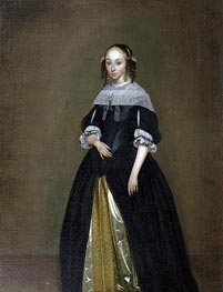 Portrait of a Young Lady, c.1665/70 by Gerard ter Borch | Painting Reproduction
