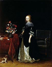 Portrait of a Young Woman, c.1665/70 by Gerard ter Borch | Painting Reproduction