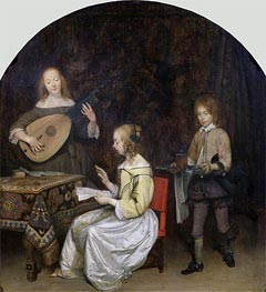 The Concert: Singer and Theorbo Player, c.1657 by Gerard ter Borch | Painting Reproduction