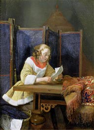 A Lady Reading a Letter, early 1660 by Gerard ter Borch | Painting Reproduction