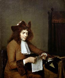 Young Man Reading a Letter, c.1680 by Gerard ter Borch | Painting Reproduction