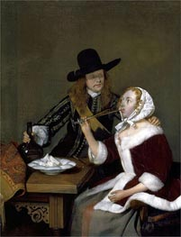 A Gentleman Pressing a Lady to Drink | Gerard ter Borch | Painting Reproduction