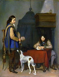Officer Writing a Letter with a Trumpeter, c.1658/59 by Gerard ter Borch   Painting Reproduction