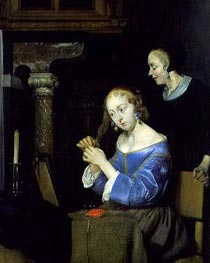 A Lady Dressing her Hair, c.1650 by Gerard ter Borch   Painting Reproduction