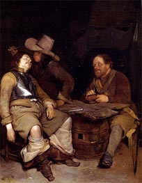 A Guard Room Interior with a Soldier Blowing Smoke in the Face of his Sleeping Companion, undated by Gerard ter Borch   Painting Reproduction