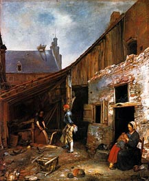 The Family of the Stone Grinder, c.1653/55 by Gerard ter Borch   Painting Reproduction