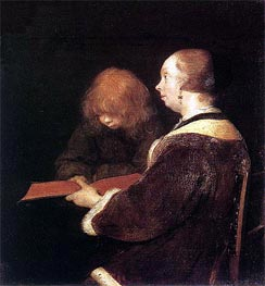 The Reading Lesson, c.1652 by Gerard ter Borch   Painting Reproduction