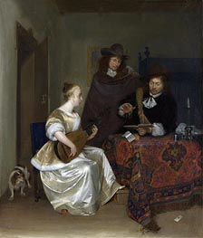 A Woman Playing a Theorbo to Two Men, c.1667/68 by Gerard ter Borch   Painting Reproduction