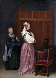 A Young Woman at Her Toilet with a Maid, c.1650/51 by Gerard ter Borch | Painting Reproduction
