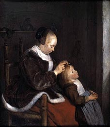 Hunting for Lice (A Mother Combing the Hair of her Child), c.1652/53 by Gerard ter Borch | Painting Reproduction