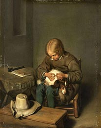 Boy Ridding his Dog of Fleas, 1700 by Gerard ter Borch | Painting Reproduction