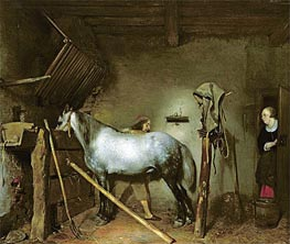 Horse Stable | Gerard ter Borch | Painting Reproduction