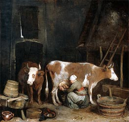 A Maid Milking a Cow in a Barn | Gerard ter Borch | Painting Reproduction