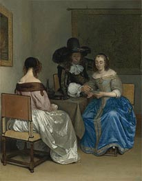 The Card Players, c.1659 by Gerard ter Borch | Painting Reproduction