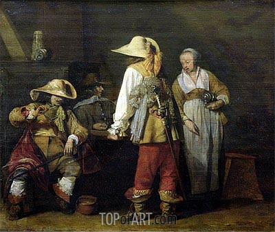 Interior of an Inn, 1636 | Gerard ter Borch | Painting Reproduction