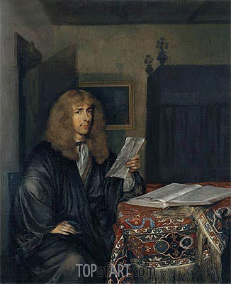 Portrait of a Man Reading a Coranto, c.1675 | Gerard ter Borch | Painting Reproduction