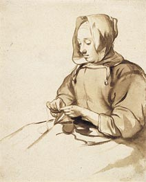 Woman Doing Handwork, c.1655 by Gerbrand van den Eeckhout | Painting Reproduction