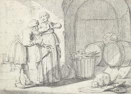 Genre Scene with a Man a Woman and a Cat | Gerbrand van den Eeckhout | Gemälde Reproduktion