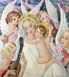 Madonna and Child with Musical Angels | Gerda Wegener | Painting Reproduction