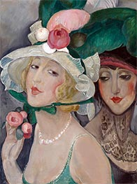 Two Cocottes with Hats (Lili and Friend), c.1925 by Gerda Wegener | Painting Reproduction