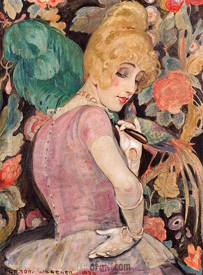 Lili with a Feather Fan, 1920 | Gerda Wegener | Painting Reproduction