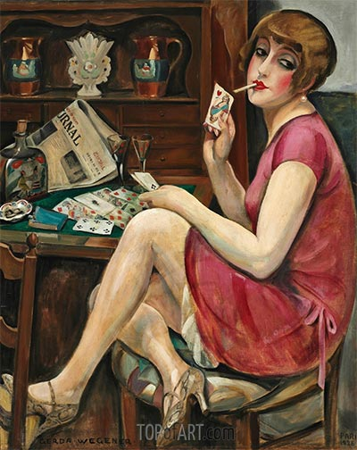 Queen of Hearts (Solitaire), 1928 | Gerda Wegener | Painting Reproduction