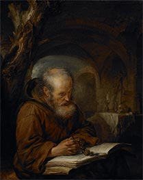 A Hermit Praying, 1670 by Gerrit Dou | Painting Reproduction