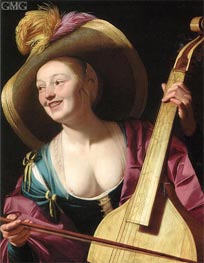 A Young Woman Playing a Viola da Gamba, c.1620 by Gerrit van Honthorst | Painting Reproduction