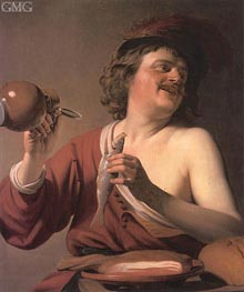Been Drinker, Pickled Herring, c.1625 by Gerrit van Honthorst | Painting Reproduction