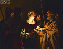 The Denial of St. Peter, c.1623 by Gerrit van Honthorst | Painting Reproduction