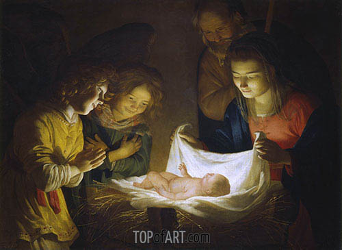 Adoration of the Child, c.1620 | Gerrit van Honthorst | Painting Reproduction
