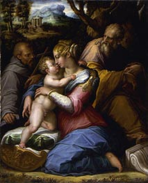 Holy Family with Saint Francis in a Landscape, 1542 von Giorgio Vasari | Gemälde-Reproduktion