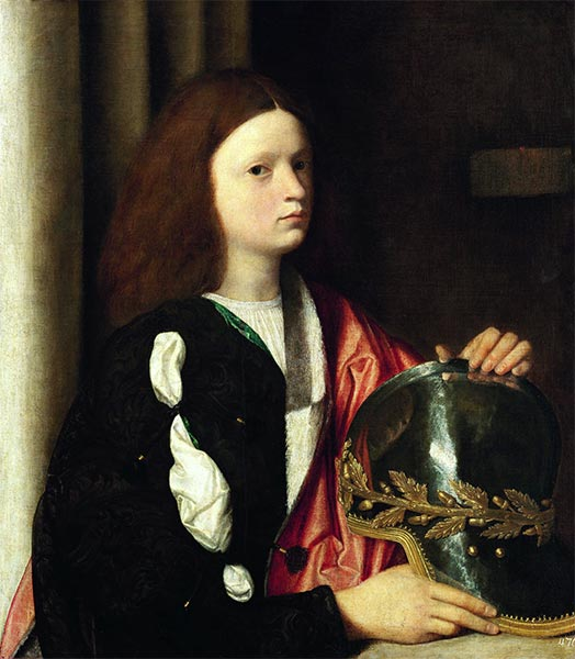 Portrait of a Boy with Helmet, c.1502 | Giorgione | Painting Reproduction