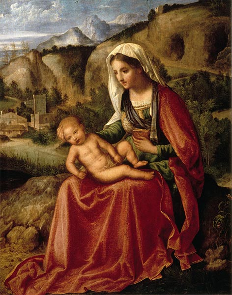 The Virgin and the Child in a Landscape, c.1503 | Giorgione | Painting Reproduction