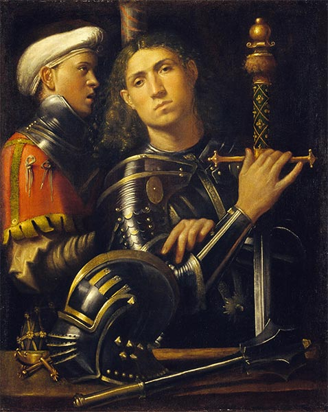 Gattamelata. Man in Armor with a Squire, c.1501/02 | Giorgione | Painting Reproduction