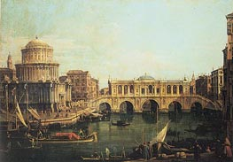 Capriccio of the Grand Canal with an Imaginary Rialto Bridge, 1744 von Canaletto | Gemälde-Reproduktion