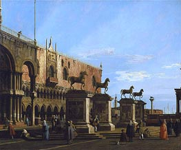 Venice: Caprice view of the Piazzetta with the Horses of St. Marco, c.1743 von Canaletto | Gemälde-Reproduktion