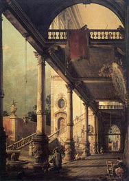 Architectural Capriccio with a Colonnade, 1765 von Canaletto | Gemälde-Reproduktion
