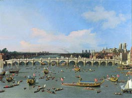 Westminster Bridge, London, With the Lord Mayor's Procession on the Thames, undated von Canaletto | Gemälde-Reproduktion