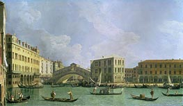 View of the Rialto Bridge, North, c.1734/35 von Canaletto | Gemälde-Reproduktion