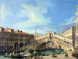 View of the Rialto Bridge at Venice, South, c.1727 von Canaletto | Gemälde-Reproduktion