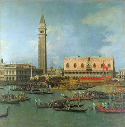 View of the Palace of St Mark, Venice, with Preparations for the Doge's Wedding, undated von Canaletto | Gemälde-Reproduktion