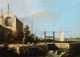 Capriccio: A Sluice on a River with a Chapel, 1754 von Canaletto | Gemälde-Reproduktion