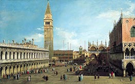 The Piazzetta, Venice, Looking North, c.1730/35 by Canaletto | Painting Reproduction