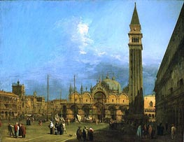 Venice: Piazza St. Marco with the Basilica and Campanile | Canaletto | Gemälde Reproduktion