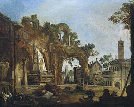 Rome: A Caprice View with Ruins Based on the Forum | Canaletto | Painting Reproduction