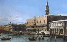 Venice: The Molo with the Prisons and the Doges' Palace, 1743 by Canaletto | Painting Reproduction